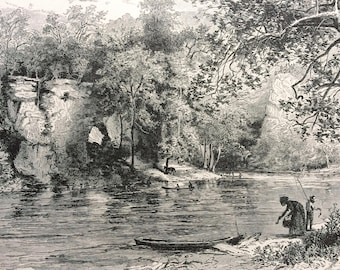 1895 New River at Eggleston's Springs, Virginia Original Antique Wood Engraving - Mounted and Matted - Decorative Art - Available Framed