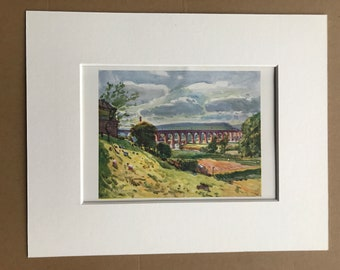 1921 Whalley - Railway Viaduct Original Antique Print - Lancashire - England - Landscape - Mounted and Matted - Available Framed