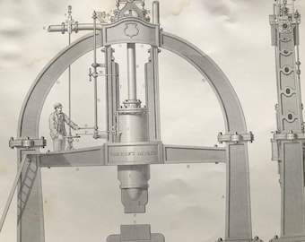 1858 Steam Hammer - Condie's 4 Ton Patent Steam Hammer Original Antique Engraving - Victorian Technology - Available Framed