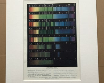 1923 Some Typical Spectra Original Antique Print - Spectrum of Sun, Sirius, Nova Cygni - Astronomy - Mounted and Matted - Available Framed