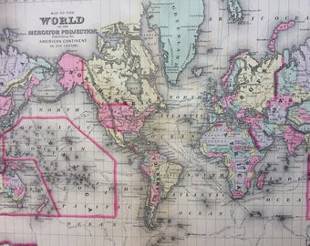 1888 WORLD on MERCATOR'S PROJECTION large rare original antique Mitchell Map - Antique World Map - Wall Decor - Home Decor - Gift Idea