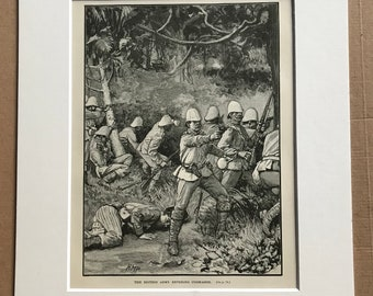 1900 British Army entering Coomasie Original Antique Print - Kumasi - Ghana - Colonialism - Africa - Mounted and Matted - Available Framed
