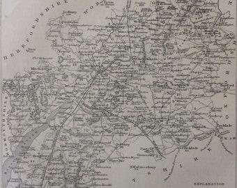 1848 Gloucestershire Original Antique Engraved Map - UK County Map - Decorative Art - Cartography - Wall Decor - England