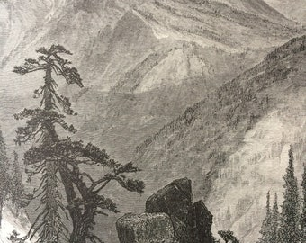 1874 Summit of the Sierras, California Original Antique Wood Engraving - Mounted and Matted - Landscape - United States