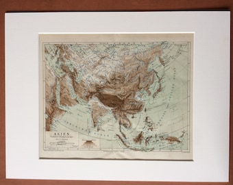 1874 Asia (Physical and Ethnographic) Large Original Antique Map - Available Mounted and Matted - Victorian Decor