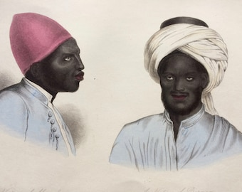 1855 A Native of Mandara and a Native of Borneo Original Antique Hand Coloured Engraving - Human Races - Anthropology - Ethnography