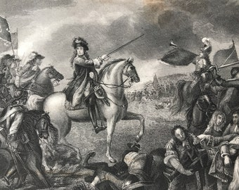 1877 King William III at the Battle of the Boyne Original Antique Engraving - Ireland - Mounted and Matted - Available Framed