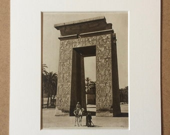 1940s King's Gateway at Karnak Original Vintage Sepia Photo Print - Mounted and Matted - Ancient Egyptian Architecture - Available Framed