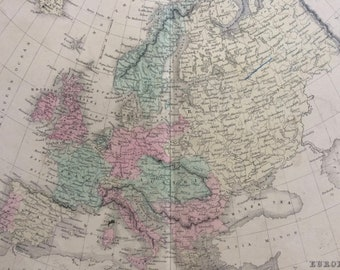 1858 Europe Original Antique Map - Available Mounted and Matted - 12 x 16 Inches - Gift Idea - Vintage Map - Wall Decor