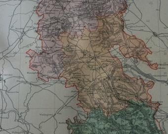 1895 Buckinghamshire original antique map, english county, cartography, gift idea