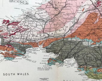 1913 Southern Wales Original Antique Small Geological Map - UK County Map - Geology - Available Framed