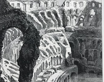 1876 Interior of the Coliseum Original Antique Engraving - Mounted and Matted - Rome - Italy - Architecture Amphitheatre - Available Framed