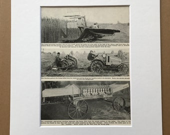 1940s Harvesting Hemp Original Vintage Print - Farming - Agriculture - Mounted and Matted - Available Framed