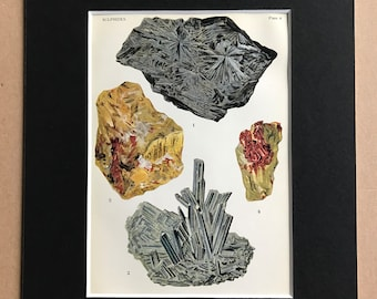1916 Minerals Original Antique Lithograph - Mounted and Matted - Sulphides - Mineralogy - Crystals - Available Framed