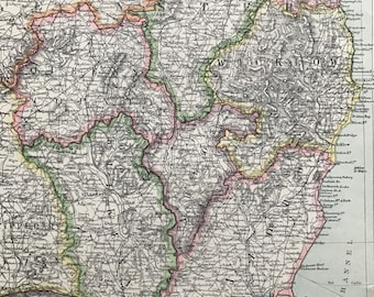 1903 Dublin & Southeast Ireland Original Antique Map showing Railways, Submarine Cables and Steamer Routes - Kilkenny, Wexford, Wicklow