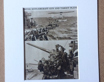 1940s Naval Anti-Aircraft Gun and Target Plane Sepia photo Original Vintage Print - Mounted and Matted - Royal Navy - Available Framed