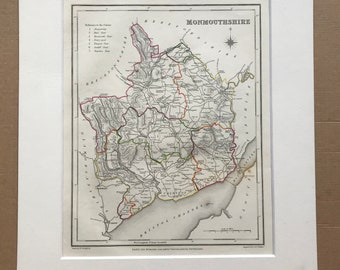 1845 Monmouthshire Original Antique Hand-Coloured Engraved Map - UK County Map - Available Framed - England