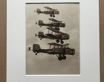 1940s RAF Bombers Original Vintage Print - Mounted and Matted - Aircraft - Boulton Paul Overstrand - Royal Air Force - Available Framed