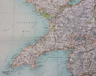 1898 Carnarvon Large Original Antique Ordnance Survey Map - City Plan - England - Britain - Cartography - Gift Idea - Local History