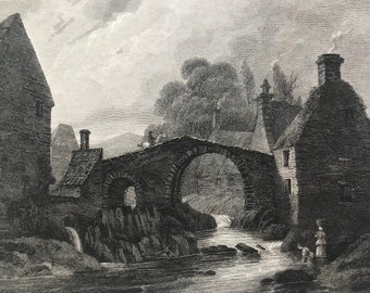 1817 Hawick - Roxburghshire Original Antique Engraving - Scotland - Borders - Vintage Wall Decor - Available Framed