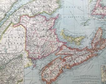 1903 Maritime Provinces of Canada Large Original Antique Map, 15.5 x 20.5 inches, Harmsworth map, New Brunswick, Nova Scotia, Newfoundland