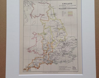1875 England according to Domesday showing William's conquests Original Antique Map - Available Matted and Framed - English History