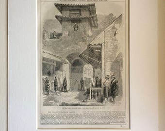 1859 Original Antique Engraving - The East Gate, Canton - Victorian Wall Decor - Guangzhou - Guangdong - China - Available Framed