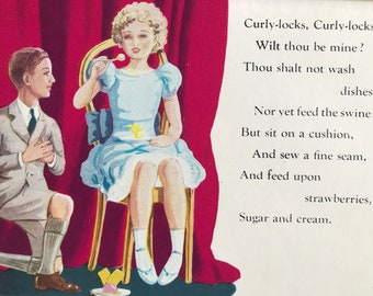 1940s Curlylocks Original Vintage Illustration - Mounted and Matted - Nursery Rhyme Illustration - Available Framed