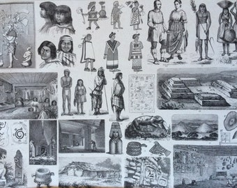 1870 Mexico People, Art and Culture Large Original Antique Engraved Illustration - Ethnography - Anthropology - Mexican History