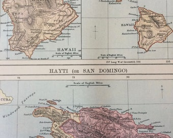 1875 Hawaiian Islands and Haiti (San Domingo) Original Antique Map - Hawaii - Available Matted and Framed
