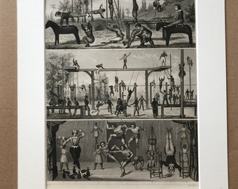 1849 Gymnastics - Circus - Exercise Original Antique Engraving - Gift for Gymnast - Mounted and Matted - Available Framed