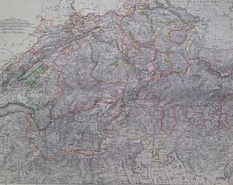 1875 SWITZERLAND large original antique map, cartography, geography, wall decor, home decor, encyclopaedia britannica