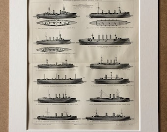 1898 Armoured and Protected Cruisers of different Navies Large Original Antique Lithograph - Available Mounted and Matted - Ship - Navy