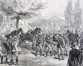1877 Russian Troops and Royalty Original Antique Engraving, Illustrated London News, 19th Century History, Victorian Art, Wall Decor