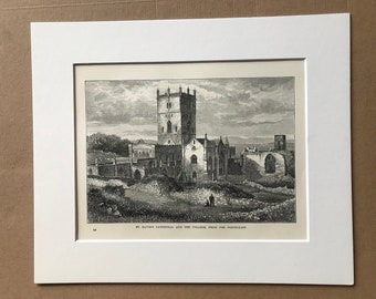 1883 St. David's Cathedral and the College, from the North-East Original Antique Print - Wales - Mounted and Matted - Available Framed