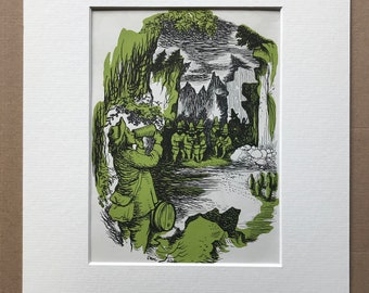 1940s Rip Van Winkle Original Vintage Print - Washington Irving - US Civil War - New York - Mounted and Matted - Available Framed