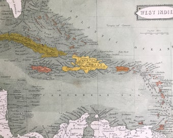 1863 West Indies Original Antique Map - Cuba, Haiti, Jamaica, Puerto Rico, Dominical Republic - Vintage Wall Map - Available Framed