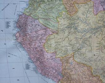 1920 South America (Northwest) Extra Large Original Antique Map - Peru - Ecuador - Colombia - Venezuela - Bolivia - Panama - Cartography
