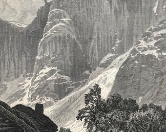 1876 The Trolltinderne, Romsdal Original Antique Wood Engraving - Mounted and Matted - Romsdalen Valley - Norway - Available Framed