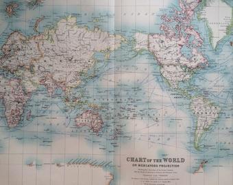 1907 THE WORLD Large original antique map, cartography, wall decor, home decor, W & A. K Johnston Atlas, mercators projection