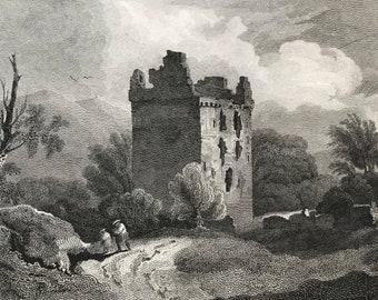 1817 Newark Castle - Selkirkshire Original Antique Engraving - Scotland - Borders - Vintage Wall Decor - Available Framed