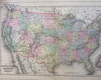 1888 UNITED STATES large rare original antique Mitchell Map with inset map of Newfoundland- Wall Decor - Home Decor - Gift Idea