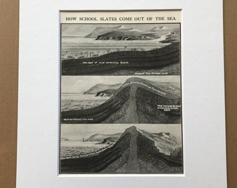 1940s How Slates come out of the Sea Original Vintage Print - Mounted and Matted - Geology - Available Framed