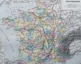 1880 France original antique map, cartography, geography, wall decor, home decor