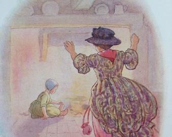 1917 Little Polly Flinders Vintage Nursery Rhyme Margaret W. Tarrant Illustration - Matted and Available Framed - Wall Decor - Nursery Decor