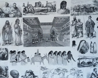 1870 Arabian Tribes, Art and Culture Large Original Antique Engraved Illustration - Ethnography - Jew - Arabian Sheikh - Egyptian Painting
