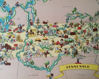 1935 Tennessee Original Vintage Cartoon Map - Ruth Taylor White -  Mounted and Matted - Whimsical Map - United States
