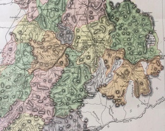 1884 Peebles Shire Original Antique Map - Scottish County, cartography, Scotland, Victorian Decor