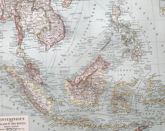1897 Southeast Asia Original Antique Map - Available Mounted and Matted - Malay Peninsula - Indonesia - Borneo - Philippines - Vintage Map