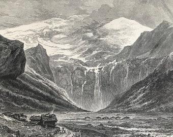 1876 Plan des Isles, Val des Ormonds Original Antique Wood Engraving - Mounted and Matted - Switzerland - Landscape - Available Framed